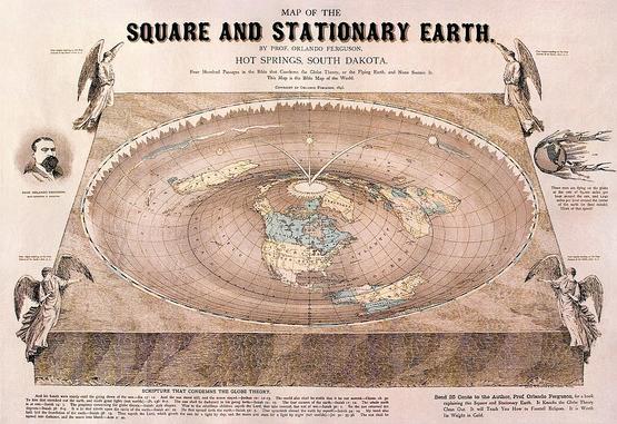 奥兰多·弗格森(Orlando Ferguson)在1893年绘制的平地世界地图