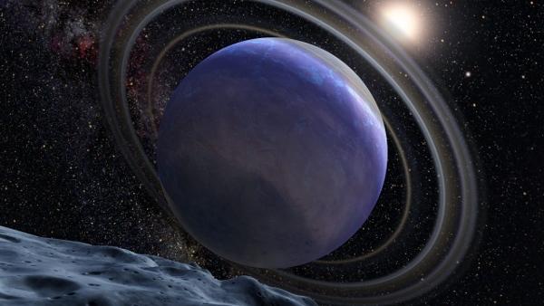 [图片说明]:(从其假想卫星上所看到的)太阳系外行星HR 8799 b是一颗超级木星,它绕其宿主恒星公转一周需要460年。