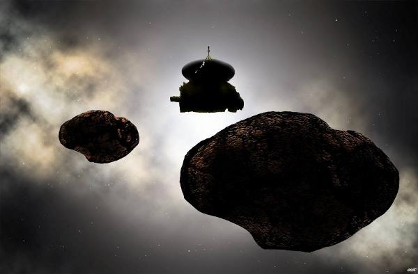 2019年1月1日新视野探测器飞掠柯伊伯带天体2014 MU69及其潜在卫星的艺术概念图。掩星数据暗示,如果该卫星真的存在,那它的大小可能会与MU69十分接近,直径分别为约18千米和20千米。版权:NASA/JHU-APL/SwRI