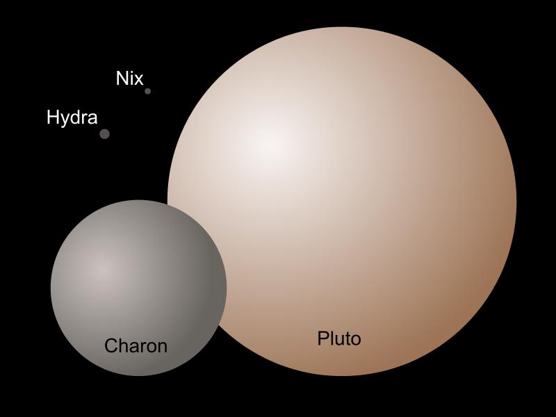 冥王星的轨道-极视图。从上方鸟瞰冥王星的轨道(红色)显示比海王星的轨道(浅蓝色)更不像圆形(更为椭圆),同时显示有时会比海王星更靠近太阳。两者轨道颜色较深的部分显示它们是位于黄道面的下方。