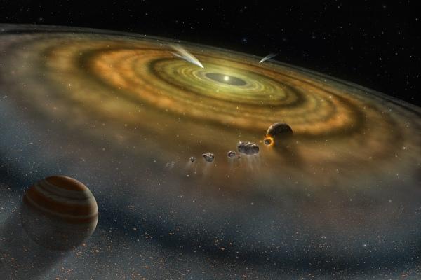 在行星盘中形成的气态巨行星。版权:NASA/FUSE/Lynette Cook