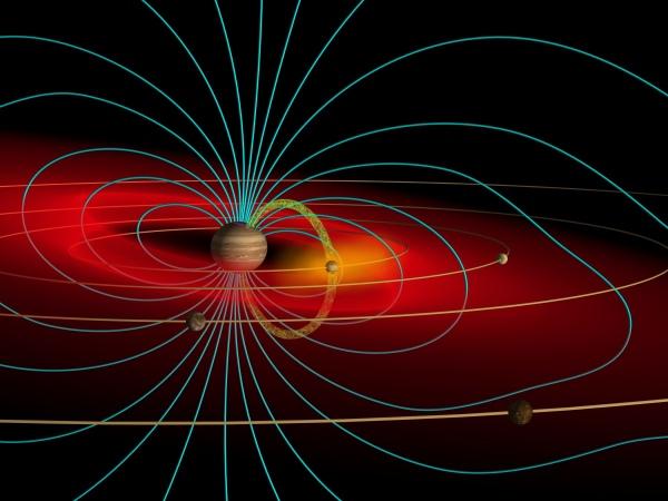 木星巨大的磁场以及木卫一向木星输入离子。版权:John Spencer