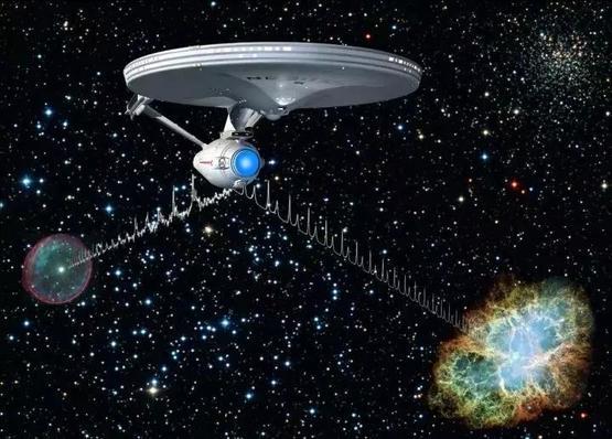 """脉冲星导航艺术想象图。图中星舰为电视剧""""星际迷航""""中的企业号。图片来源:德国马普地外物理研究所。"""