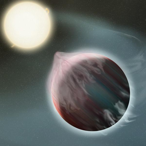 [图片说明]:类似WASP-12b这样极为靠近其宿主恒星的热类木星,它们的大气会不断流失。版权:NASA/GSFC/Frank Reddy。